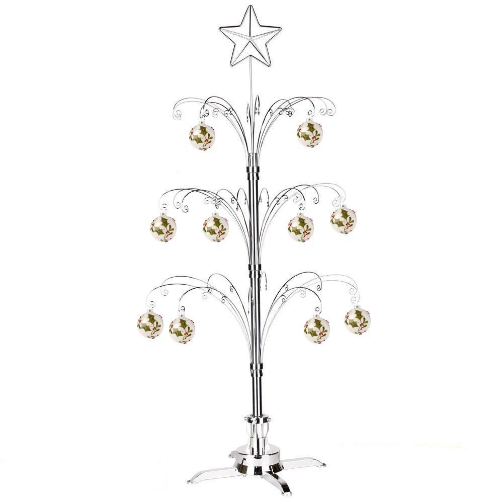 Metal 47 Revolving Artificial Christmas Ornaments Display Trees in Chrome Color.jpg